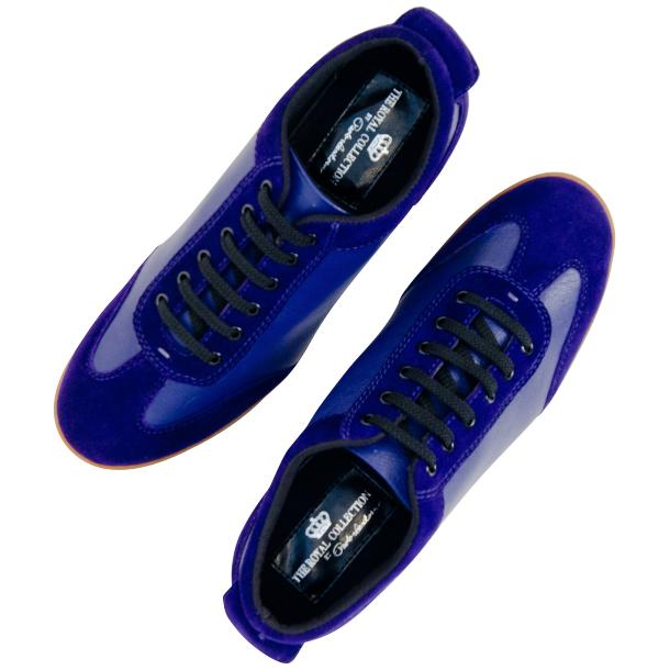 Gigi Royal Blue Two Tone Nappa Leather Low Top Sneakers  full-size #2