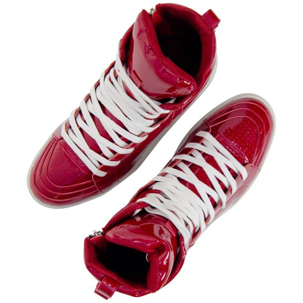 Breakin' Royal Red Patent Leather High Top Sneakers full-size #2