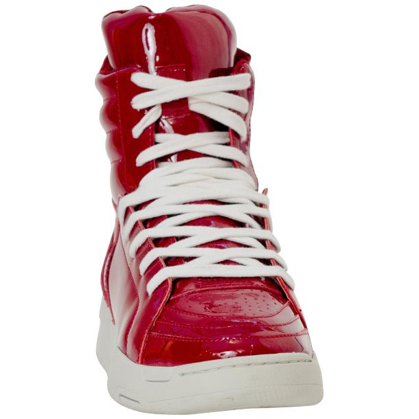 Breakin' Royal Red Patent Leather High Top Sneakers full-size #3