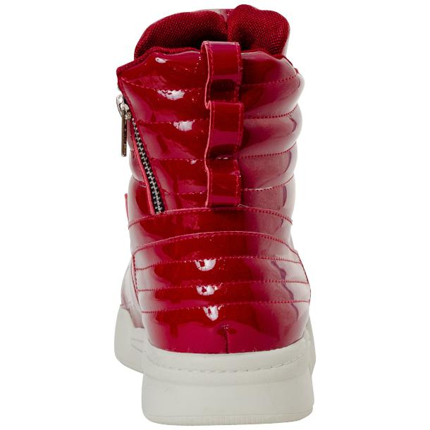 Breakin' Royal Red Patent Leather High Top Sneakers full-size #5