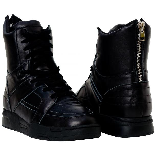 Rockstar Engine Black Nappa Leather High Top Sneakers full-size #1