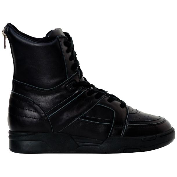 Rockstar Engine Black Nappa Leather High Top Sneakers full-size #4