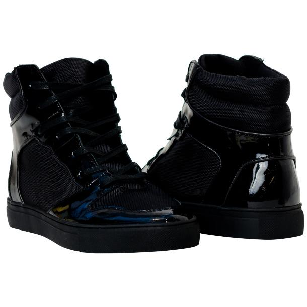 Celine Black Patent Leather High Top Sneakers full-size #1