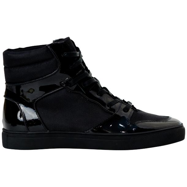 Celine Black Patent Leather High Top Sneakers full-size #4