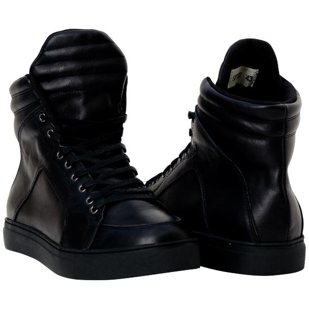 Meredith Matte Black Nappa Leather High Top Sneakers full-size #1