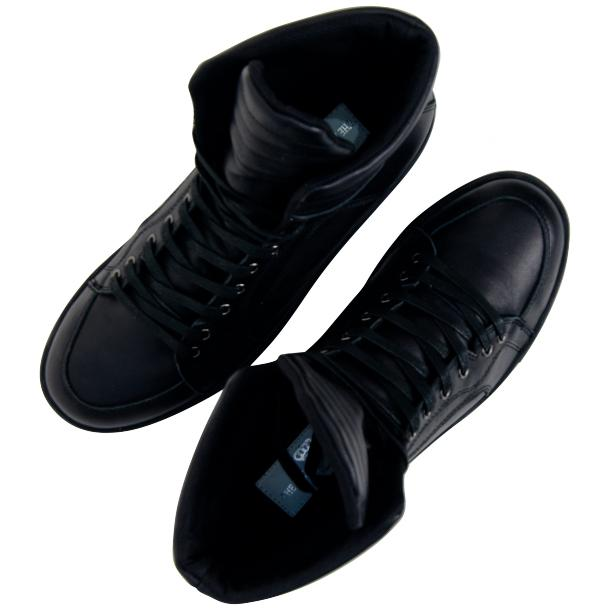 Meredith Matte Black Nappa Leather High Top Sneakers full-size #6
