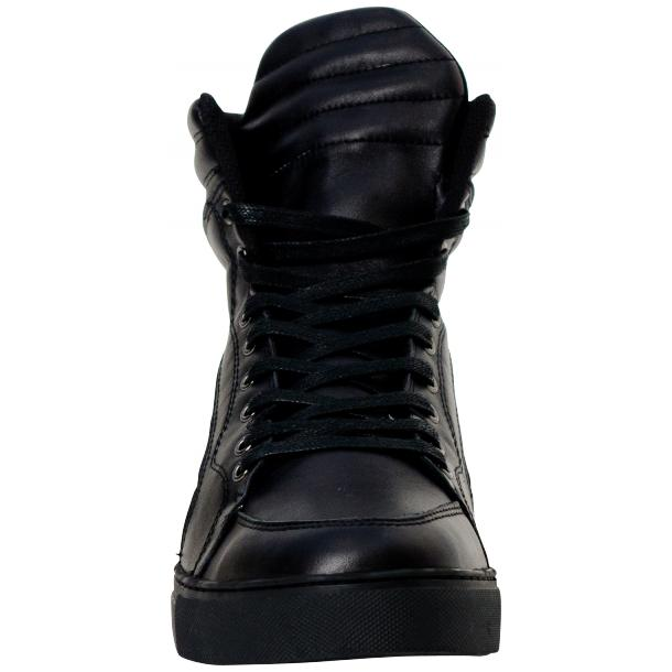 Meredith Matte Black Nappa Leather High Top Sneakers full-size #2