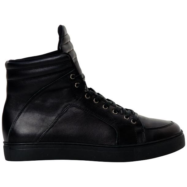Meredith Matte Black Nappa Leather High Top Sneakers full-size #4