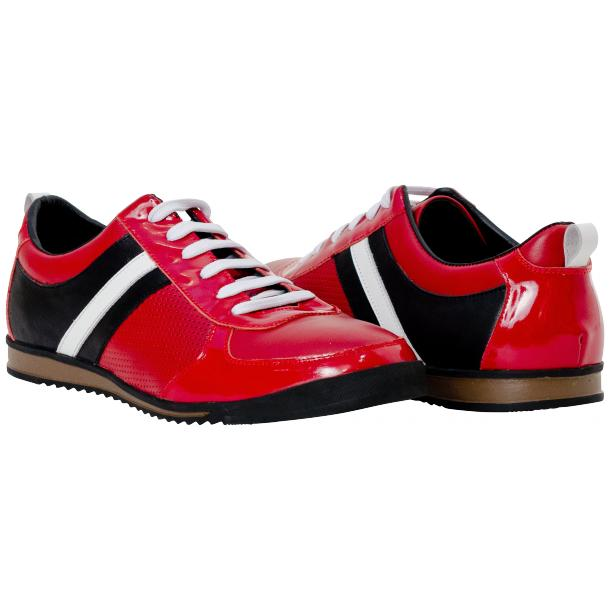 Coco Red Two Tone Nappa Leather Low Top Sneakers full-size #1