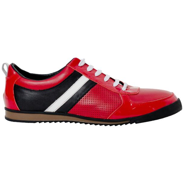 Coco Red Two Tone Nappa Leather Low Top Sneakers full-size #4