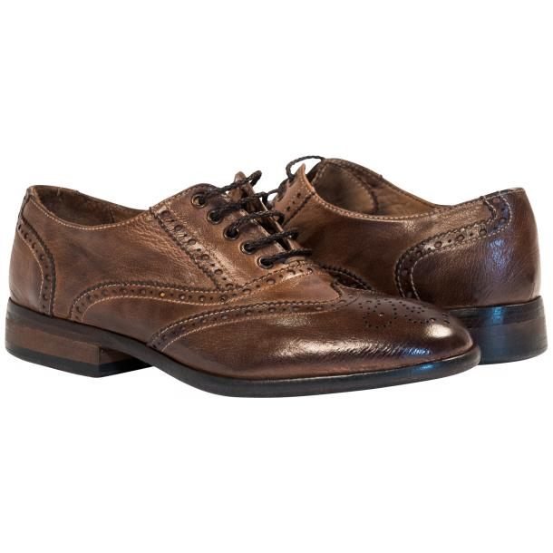Ashley Dip Dyed Brown Moor Leather Oxford Lace Up Shoes full-size #1