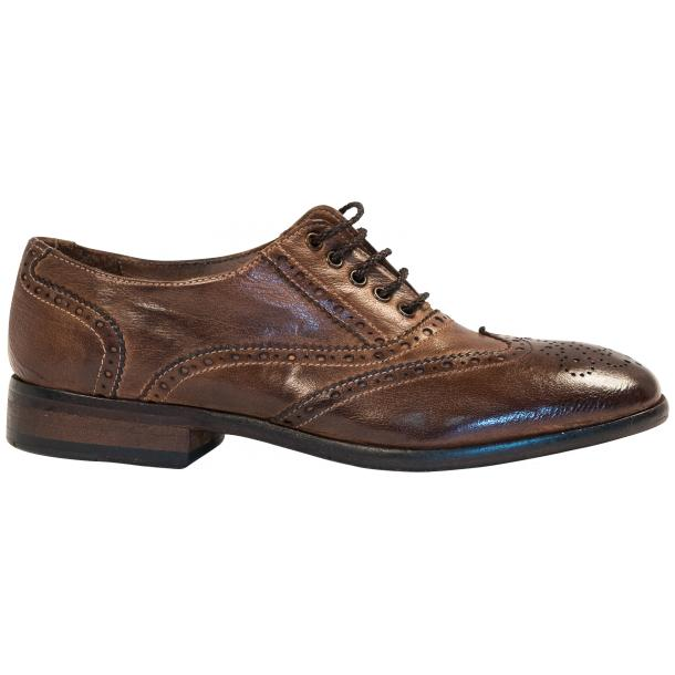 Ashley Dip Dyed Brown Moor Leather Oxford Lace Up Shoes full-size #4