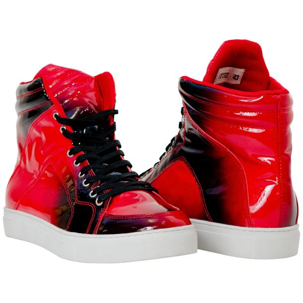 Meredith Fire Red Patent Leather High Top Sneakers full-size #1