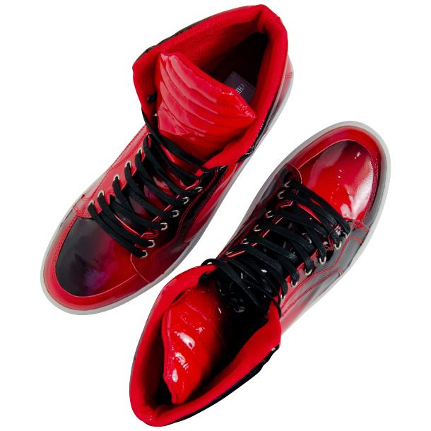 Meredith Fire Red Patent Leather High Top Sneakers full-size #5
