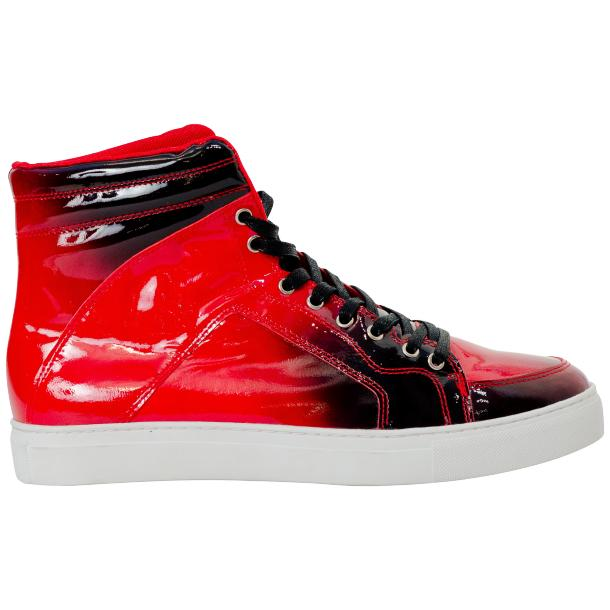 Meredith Fire Red Patent Leather High Top Sneakers full-size #4