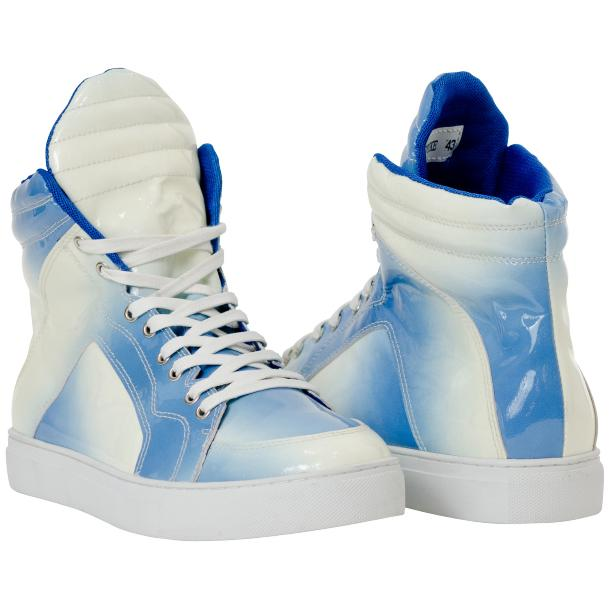 Spike Sky Blue Patent Leather High Top Sneakers full-size #1
