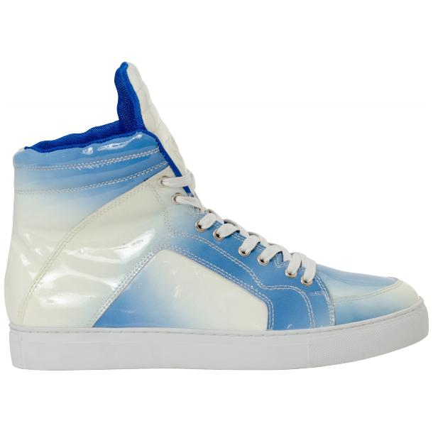 Spike Sky Blue Patent Leather High Top Sneakers full-size #4