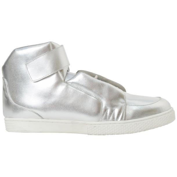 Jackie Silver Nappa Leather High Top Sneakers  full-size #4
