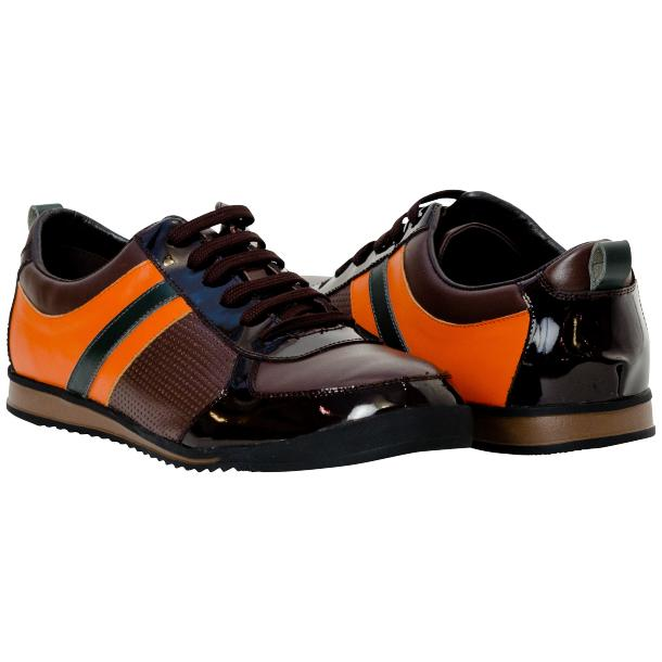 Crystal Coffee Brown and Orange Two Tone Nappa and Patent Leather Low Top Sneakers full-size #1