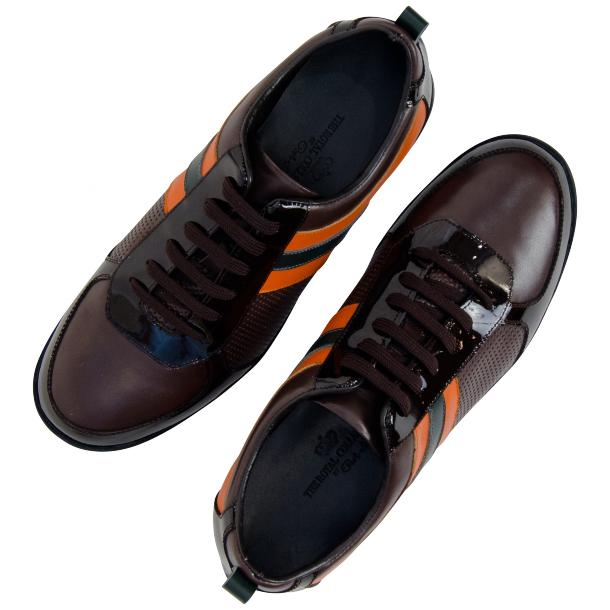 Crystal Coffee Brown and Orange Two Tone Nappa and Patent Leather Low Top Sneakers full-size #2