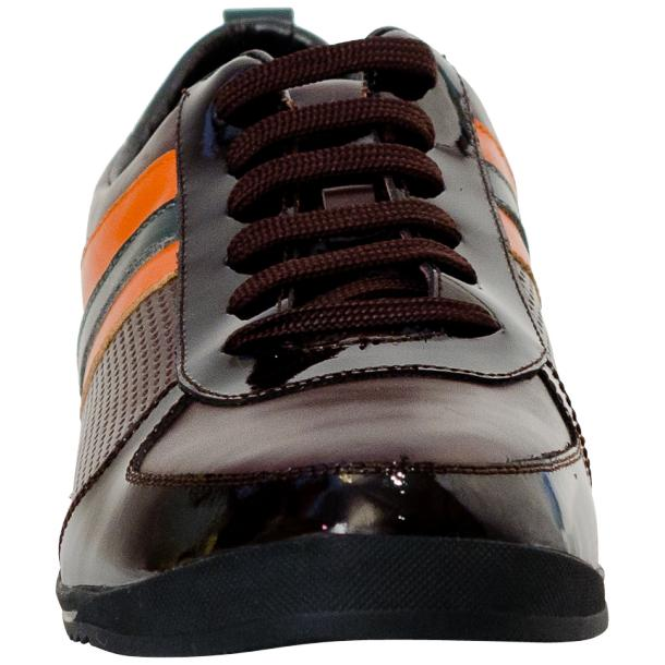 Crystal Coffee Brown and Orange Two Tone Nappa and Patent Leather Low Top Sneakers full-size #3