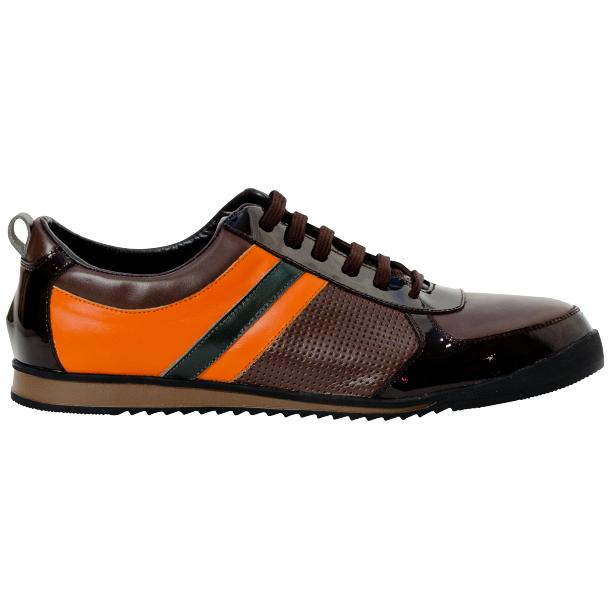 Crystal Coffee Brown and Orange Two Tone Nappa and Patent Leather Low Top Sneakers full-size #4