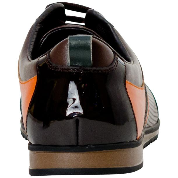 Crystal Coffee Brown and Orange Two Tone Nappa and Patent Leather Low Top Sneakers full-size #5