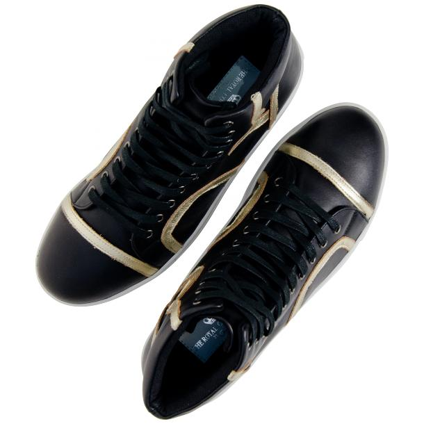 Betty Black and Gold Design Patent Leather High Top Sneakers full-size #2