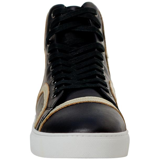 Betty Black and Gold Design Patent Leather High Top Sneakers full-size #3