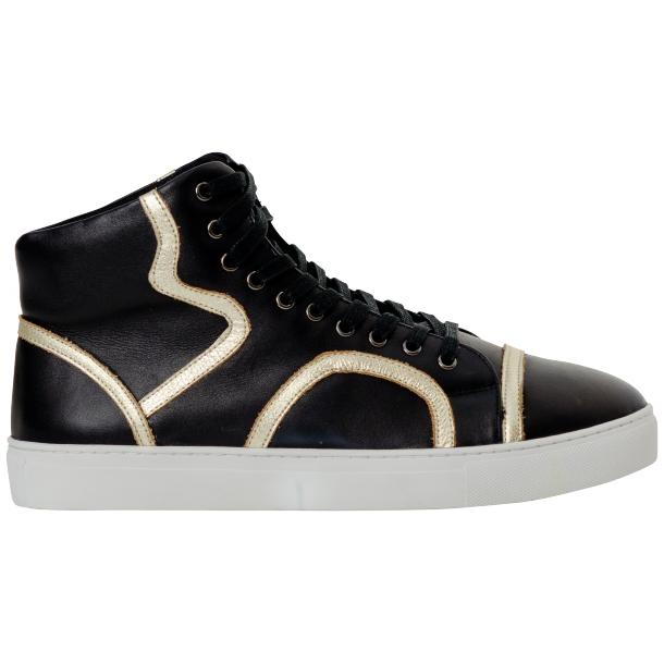 Betty Black and Gold Design Patent Leather High Top Sneakers full-size #4