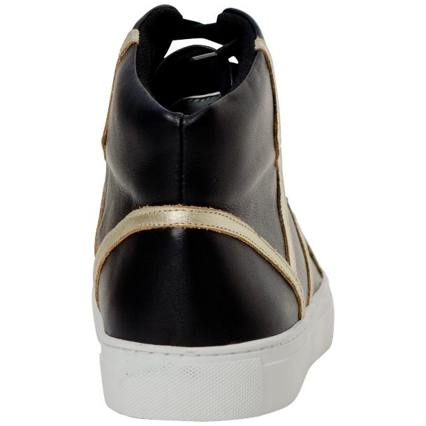 Betty Black and Gold Design Patent Leather High Top Sneakers full-size #5