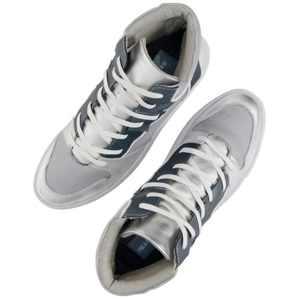 Fillmore Classic Silver Two Tone Leather High Top Sneakers full-size #2