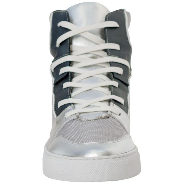 Fillmore Classic Silver Two Tone Leather High Top Sneakers full-size #3