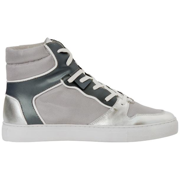 Fillmore Classic Silver Two Tone Leather High Top Sneakers full-size #4