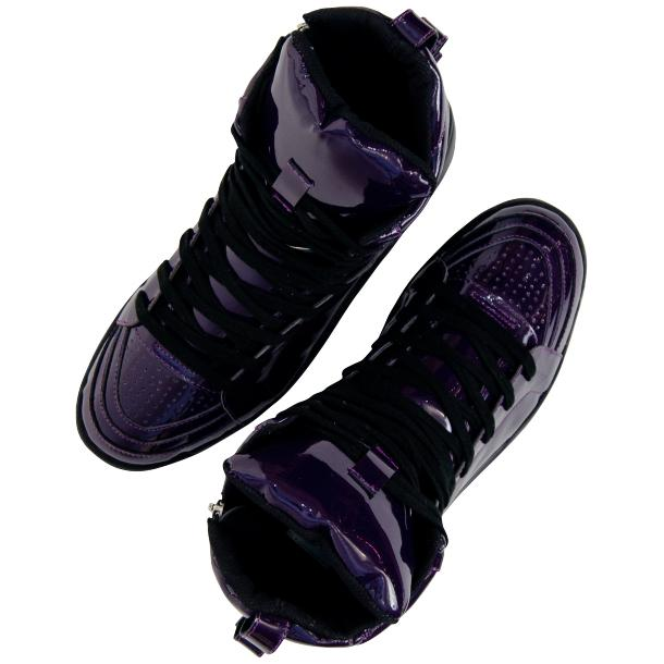 Breakin' Royal Indigo Purple Patent Leather High Top Sneakers full-size #2