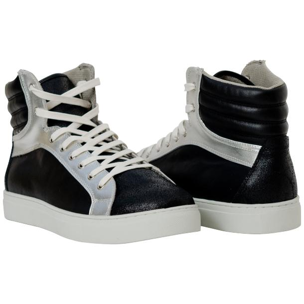 Dante Jet Black Silver Nappa Leather High Top Sneakers full-size #1