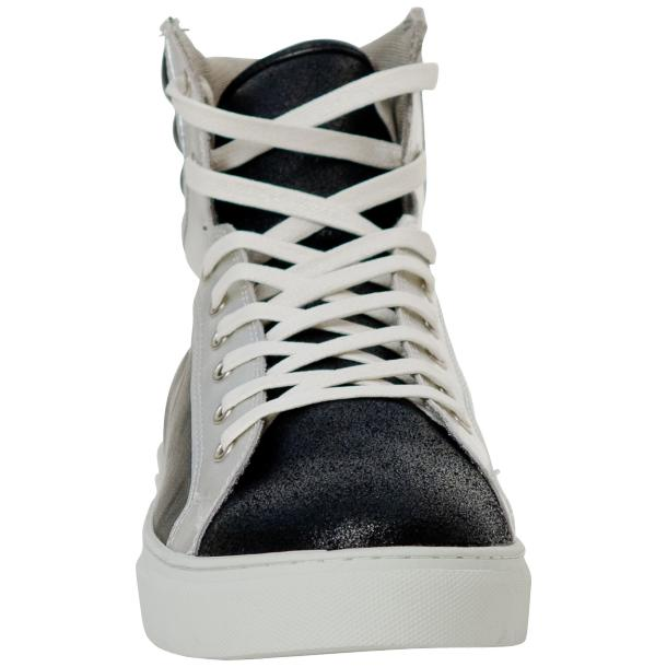 Dante Jet Black Silver Nappa Leather High Top Sneakers full-size #3