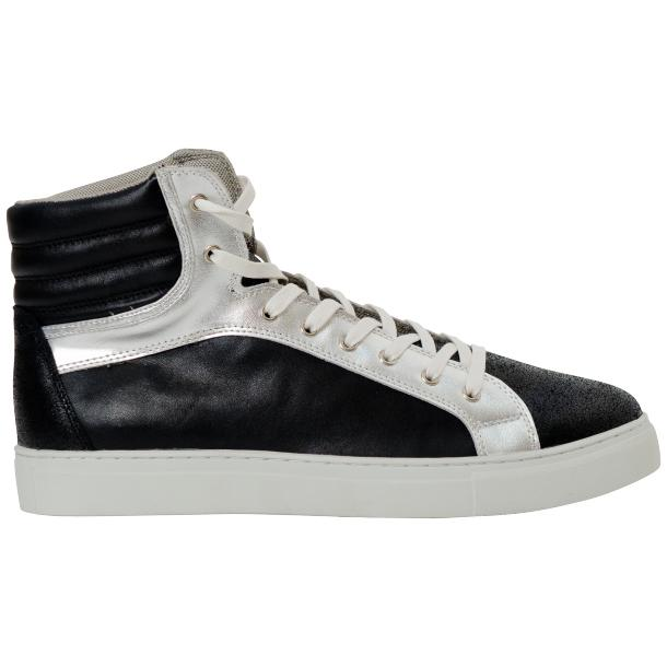 Dante Jet Black Silver Nappa Leather High Top Sneakers full-size #4