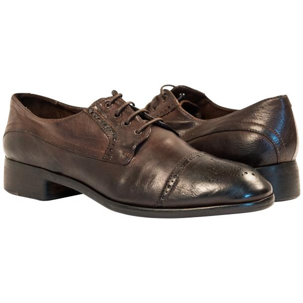 Cindy Dip Dyed Dark Brown Leather Oxford Shoes full-size #1