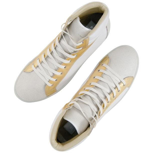 Dante White Two Tone Nappa Leather High Top Sneakers full-size #2