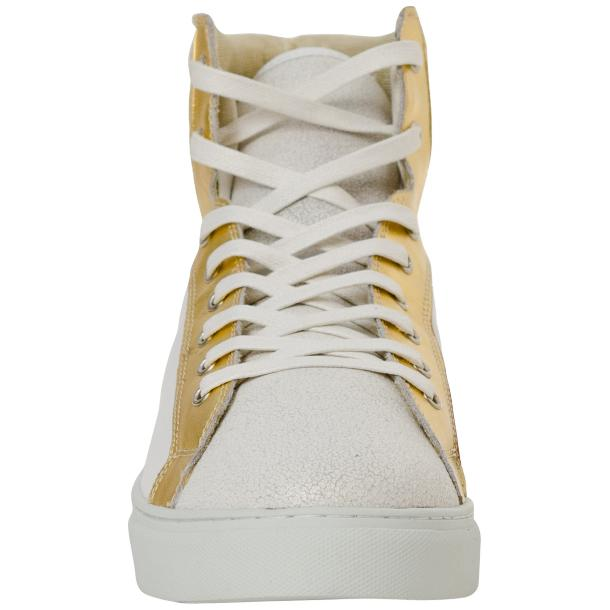 Dante White Two Tone Nappa Leather High Top Sneakers full-size #3