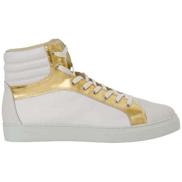Dante White Two Tone Nappa Leather High Top Sneakers full-size #4