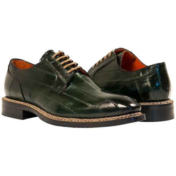 "Terry Dark Green ""Verde"" Eel Skin Laced Up Dress Shoes full-size #1"
