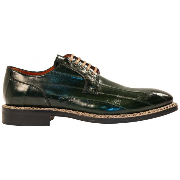 "Terry Dark Green ""Verde"" Eel Skin Laced Up Dress Shoes full-size #4"