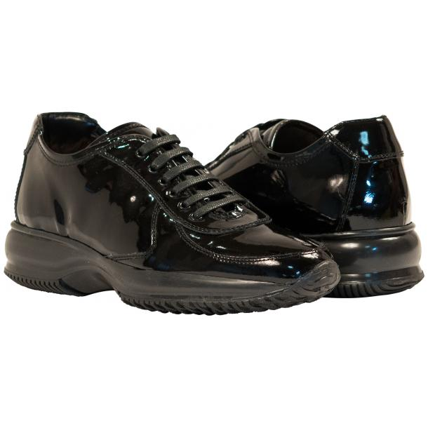 Pressley Black Patent Leather Rubber Sole Sneaker Shoes full-size #1