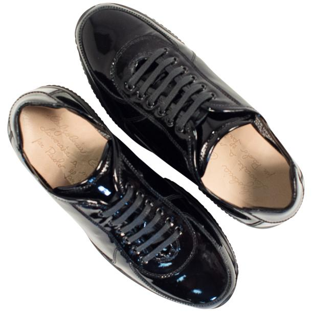 Pressley Black Patent Leather Rubber Sole Sneaker Shoes full-size #2
