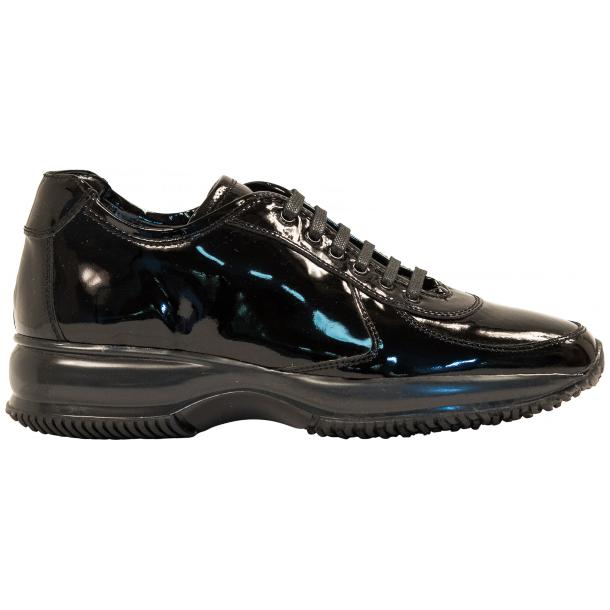 Pressley Black Patent Leather Rubber Sole Sneaker Shoes full-size #4