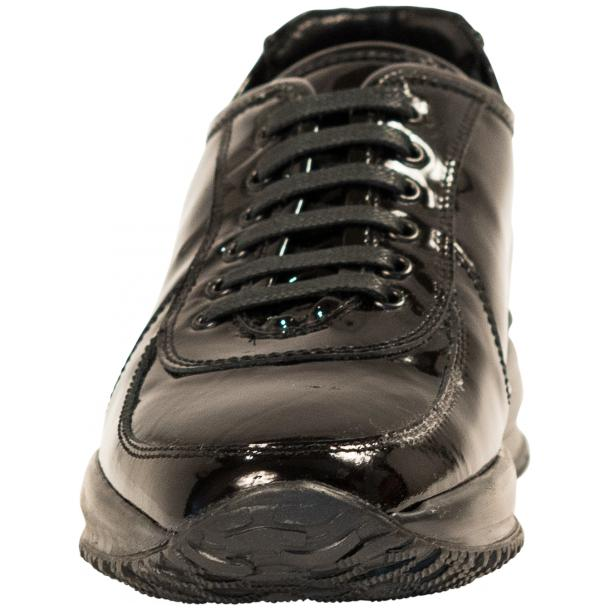 Pressley Black Patent Leather Rubber Sole Sneaker Shoes full-size #3