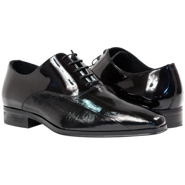 Devin Black Eel Skin Patent Leather Lace-Up Dress Shoes full-size #1