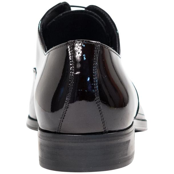 Devin Black Eel Skin Patent Leather Lace-Up Dress Shoes full-size #5